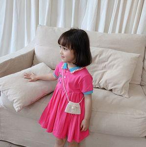 Girls mermaid printed dress summer new children ruffle lapel short sleeve dress preppy style kids pleated dress A2999