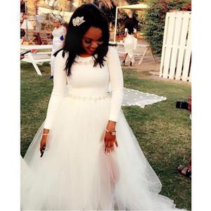 Пляжные белые свадебные платья с бусинками из кристаллов с длинными рукавами с разрезом на шею чешские дешевые свадебные платья свадебное платье для гостей