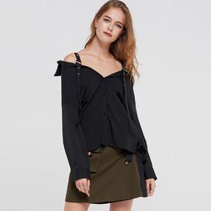 Европейские и американские сексуальные черные плечевые ремни с открытыми плечами V-образным вырезом Свободные рубашки с длинными рукавами Женщины Desiger Длинная блузка Размер S-2Xl