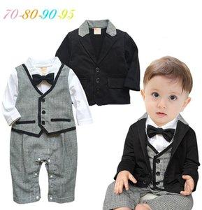New Autumn Style Children's Clothing Set Baby Boys Gentleman Clothes Kids Clothes Long Sleeve Rompers 2pcs Sets Cotton 8sets lot