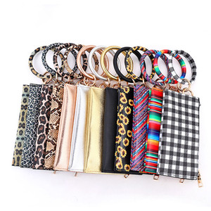Leopard Leather Bracelet Key Chain Plaid Buffalo Wallet PU Wrist Round Tassel Pendant Wristbands Keychain Bracelets Clutch Purse LJJA3602-13