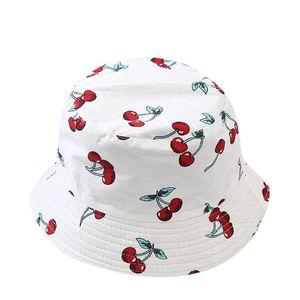 SAGACE sombrero niños encantadores visera plegable pesca cubo cereza Reversible Unisex lindo doble cara sombrero de doble cara sol