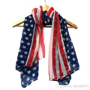 Schals American Flag Pentagram Chiffon Schal Fashion Schals USA Flag Schal Patriotic Stars and Stripes American Flag Schal für Damen WCW087