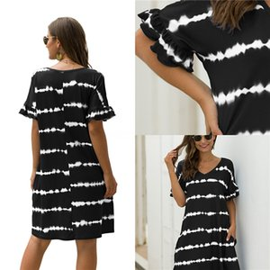 2020 New Fashion Designer Womens Summer Ink Flora Printing Bodycon Dresses Vneck Line High Waist Party Dress Plus Size Ladies Casual Clot#473