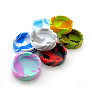 7 Colors Camouflage Silicone Ashtray Portable Round Ash Tray Holder for Home