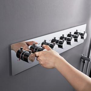 큰 물 4/5/6 기능 밸브 자동 온도 조절 믹서 수도꼭지 흐름 샤워 수도꼭지 황동 크롬 샤워 컨트롤러를 혼합 샤워