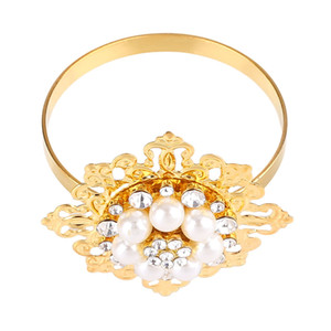 6PCS Set Napkin Ring Pearl Rhinestone Buckle Festival Party Gold Silver