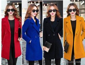 여성 Wooll 블랜드 럭셔리 디자이너 겨울 코트 캐주얼 솔리드 컬러 여성 컬 칼라 자켓 여성 긴 길이 Outwear