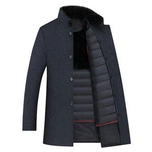 MaoMaoLeYenDa Les hommes trench-coat en laine, hommes 90% duvet de canard blanc vestes en laine, les hommes de manteau thicked, taille plus M-XXXL