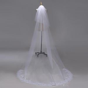 3M duas camadas Lace Borda com lantejoulas Acessórios Branco Marfim Catedral Véu Longo Bridal Veils casamento barato Véu de Noiva CPA1383