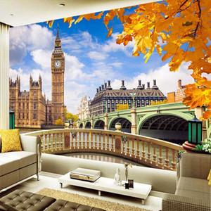Drop Shipping Custom Mural Wallpaper London Big Ben Building Landscape 3D TV Background Photo Wall Paper Home Decor Painting
