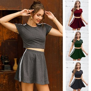 Summer solid cotton short sleeve two-piece set 2020 slim fit crop top mini dress casual outfit