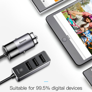 Baseus 4 USB Fast Car Charger para iPhone iPad Samsung Tablet Cargador de teléfono móvil 5V 5.5A Cargador USB de coche Cargador de coche