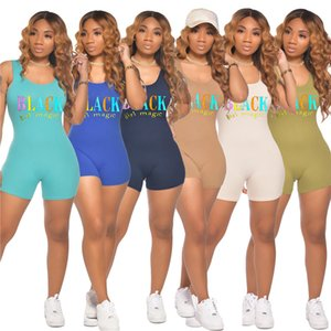 2020 Womens Designer Jumpsuits Summer Fashion Sexy Letter Print One Piece Shorts Sleeveless Casual Rompers Female Clothing