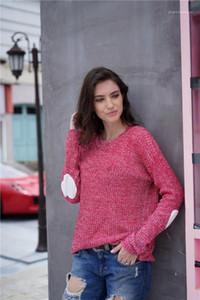 Kazak Uzun Kollu ile Kalp Kasetli Kadın Moda Donna Günlük Sıcak Giyim Tasarımcı Katı Womens Tops