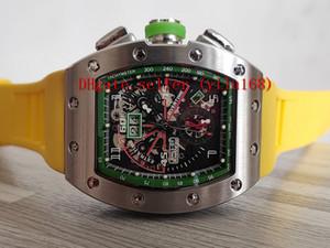 Новый высокое качество РМ 11-01 скелет большой циферблат Азиатский 2813 автоматическое движение почтовый индекс rm11-01 мужские часы стали 316L чехол желтый резиновый ремешок спортивные