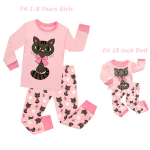 Baby Girls and 18 inches Doll Matching Pajamas Sets Girls Pijama Infantil Kids Girl Baby Girl Clothes Cat Cartoon Animal Pyjamas Y200704