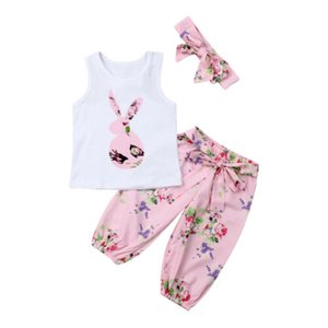 Bebé bebés floral traje de ropa camiseta impresa + polainas + Hair Band Set 0-2 Año