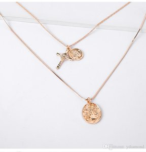 2019 new cross necklace original European and American coin pendant fashion simple multi-layer necklace manufacturers wholesale