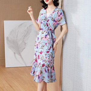 Slim dress plus size women's clothing 2020 new fat sister mm summer chiffon skirt two-piece suit