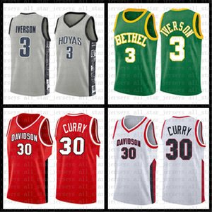 Davidson Wildcat Stephen NCAA Jersey 30 College Curry Allen 3 Iverson Georgetown Bethel High School 2 Leonard 3 Wade 11 Irving