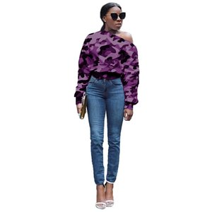 Одно плечо Дизайнер Tshirts Женщины Камуфляж Printed Кнопка Повседневный длинными рукавами пуловер Tshirts Мода Женщины Тис