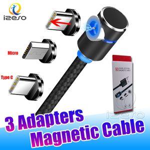 Micro C USB Magnetic Carregador 3 em 1 Cords Cabo 90 ° LED Grau de carregamento de arame para Samsung S20 Plus com izeso embalagens de varejo