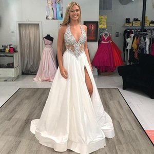 Sexy Halter Side Split Prom Dresses Beading Backless Satin Plus Size Formal Evening Party Dress Cheap 2019