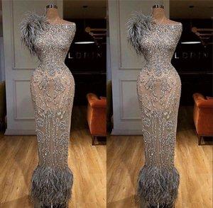 Gris d'Afrique Perler robes de soirée pour les mariages 2020 Robe de soirée Aibye Muslim Pageant Robes de bal Robes Abendkleider turque