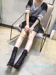 Hot Sale-Martin Bottes chausseurs femmes Zip cuir véritable Chaussures Casual Bureau Lady haut talon Bottes romaine orteils pointés