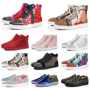New 2020 Trainers Red Bottoms Shoes Low High Cut Suede Spike Shoes For Mens Womens Shoes Party Wedding Crystal Leather Sneakers