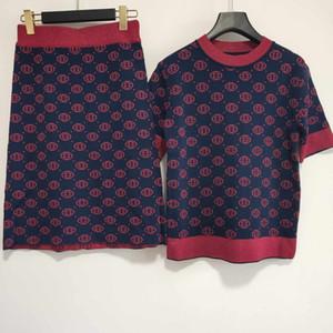 2 шт дизайнерские женские платья новое поступление мода Женская Марка футболка и платья наборы роскошный офис Леди вечернее платье