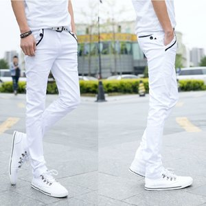 Thin Type for Spring And Autumn Elastic Men Explicit Lanky Pants Men's Casual Pants Students Korean-style White Skinny Sli