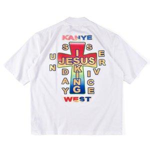 20ss Ins Hot Spring Summer American Jusus is King Sunday Service Cross Tee Skateboard Mens diseñador camiseta Mujeres Street Casual camiseta