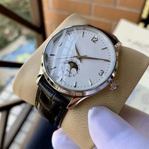 Haute Qualité Luxry Nouveau Master Ultra Thin Moon Phase 42mm Dial Hommes Mécanique Automatique Montres bracelet en cuir sport Gents Montres-bracelets