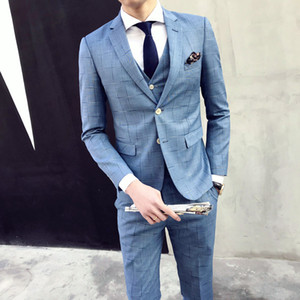 (Jacket+Pant+Vest) Mens Plaid Slim 3Pcs Suit Sets Wedding Suits for Men 2019 Fashion Design Bridegroom Dress Male