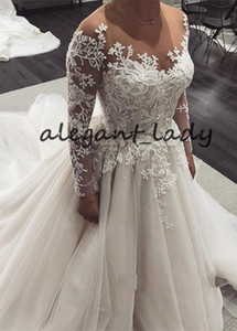 robe de mariage Fashionable Tulle Wedding Dresses 2019 Beaded Lace Appliques Long Sleeve princess church Wedding Bridal Gowns