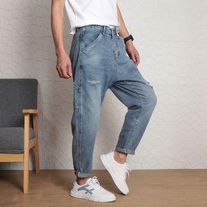 mens designerfashion wide leg water wash hole jeans men