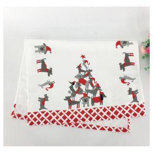홈 욕실 액세서리 5PCS 크리스마스면 인쇄 티 타올 페이스 타올 컷 벨벳 부드러운 흡수 다도 70x45cm