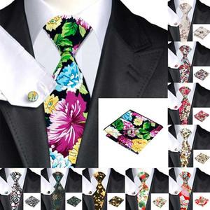 Привет-Tie Handky Запонки Комплект 150см Большой мужской галстук красный 100% Silk Ties для мужчин Цветочные моды Свадебное галстука