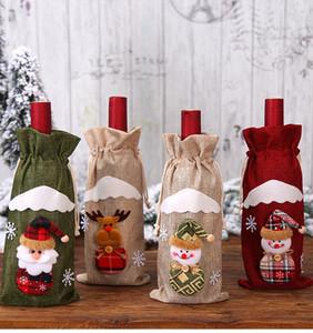 Рождество Винные бутылки крышка сумки Санта-Клауса подарков Олень Снежинка Эльф бутылки Держите сумка снеговика Xmas Home Decor A03