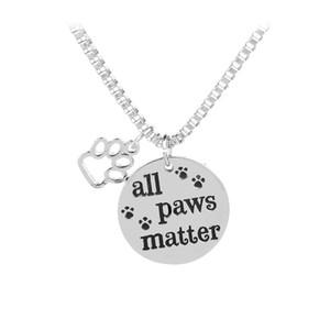 """Neue Engarved """"All Paws Matter"""" Hundeklauen Paw Footprints Anhänger Halskette Dog Tag Charm Schmuck Kostenloser Versand"""