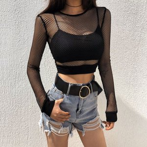 Women T-shirt Solid Black Mesh Sexy Hot Long Sleeve Perspective Mesh Fishnet Crop Tops T-Shirt