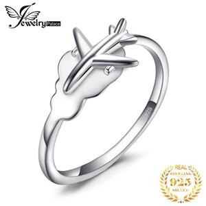 Günstige JewelryPalace Globales Flugzeug Ring 925 Sterling Silber Ringe für Frauen öffnen stapelbare Ringe Silber 925 Schmuck Fine Jewelry