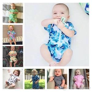 Livraison gratuite Designer d'été Nouveau-né Bébé garçons barboteuses 100% coton Tiger Stripes Bébés filles Tenues manches courtes Bodys d'une seule pièce