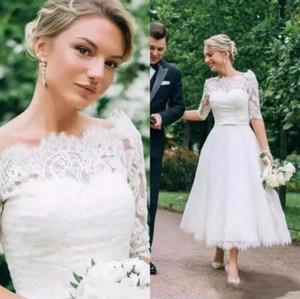 Té barato longitud vestidos de encaje 2019 Bata de mariage Sheer medias mangas Vestidos de novia hecho a mano vestido de novia corto Gelinlik