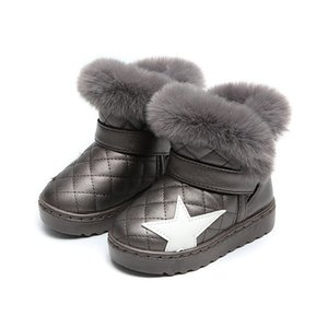 winter new children snow boots big kids leather boots warm shoes with fur princess baby girls ankle boots