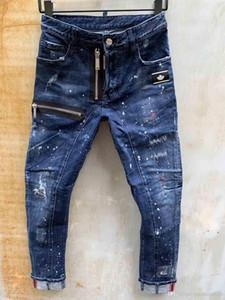 Оптовая продажа-итальянская роскошь Роза вышитые джинсы 2019 новый дизайн мужские джинсы Slim Fit мужские печатные джинсы байкер джинсовые брюки