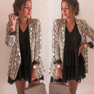 Nuove donne Blazer Blazer a maniche lunghe Feminino Serpente Stampa pelle Capispalla Office Lady Abbigliamento da lavoro Autunno Donna Top e camicette MX190809