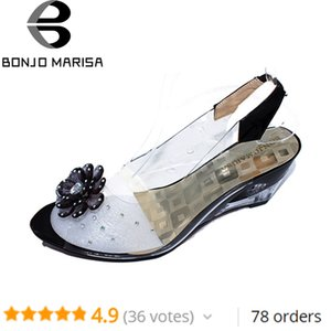 BONJOMARISA Big Size 34-43 Factory Price Rome stylish high quality fashion wedge heel sandals dress casual shoes sandals XB140 Y200702